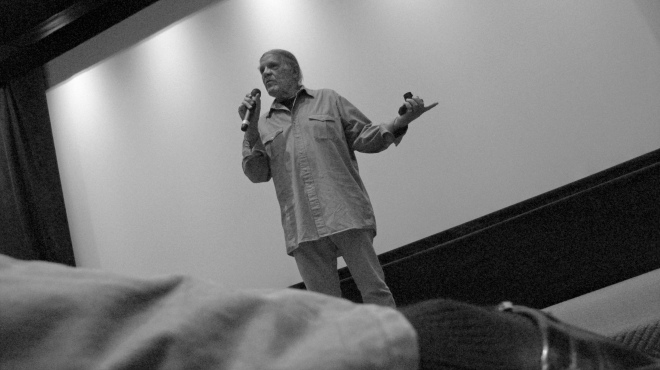 Henry introduces the film Legends Of The Canyon at the Mayfair Hotel, tiny Canon camera always at hand